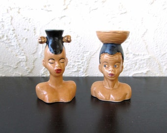 African Tribal Man and Woman Vintage Exotica Atomic 1950's Large Ceramic Salt And Pepper Shakers Japan