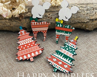 4Pcs Handmade Chistmas Tree / Deer Charms / Pendants (CW020)