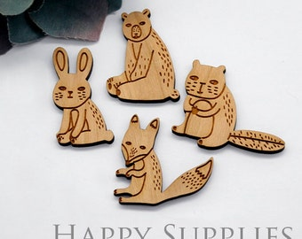 2Pcs Handmade Lovely Animal Wooden Charms / Pendants (LC053)  [High Quality]