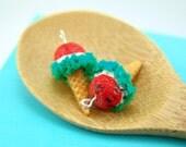Ice Cream Earrings // Watermelon Ice Cream Food Jewelry // MADE TO ORDER // Miniature Food Earrings