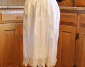 Vintage White Cotton Crochet Lace Edged Knee Length Apron