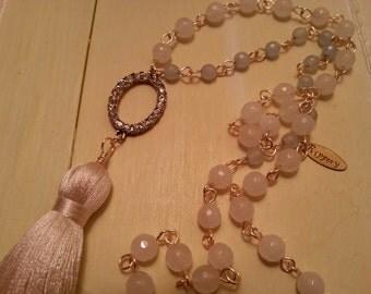 Boho Tassel Necklace,  Rosary Style Necklace, Pink Jade Necklace
