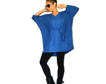 Oversize kimono tunic, Everyday women clothing, Loose tunic top, Maternity kimono tunic, Blue tunic top, Casual tunic top, Oversized tunics