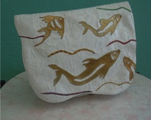 vintage 80's carlos falchi white leather fish hand bag