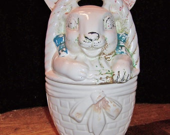 American Bisque Bunny in a Basket Cookie Jar Vintage 1940s Ceramic Pottery Original Pink and Blue Cold Paint