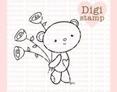 Beary Sweet Digital Stamp - Bear Stamp - Digital Bear Stamp - Bear Art -Valentine Card Supply - Valentine Craft Supply