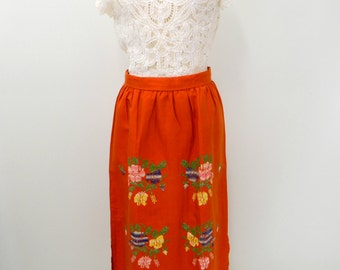 Vintage 60s-70s Embroidered Maxi Skirt...Vintage High Waisted Skirt...Orange Floral Embroidery Maxi Skirt...Size Extra Small to Small