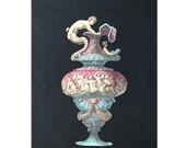 1866 ANTIQUE VASES lithograph rare unusual original antique hand colored print