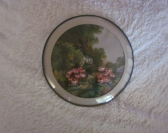 OLD WORLD English Garden Scene PICTURE With Floral Overlay &  Bubble Glass Frame