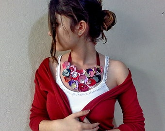 Red choker necklace Colorful statement bib necklace, Fabric flower bib necklace, statement necklace