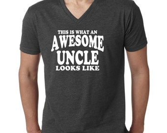 Awesome Uncle Shirt. Uncle gift. Best uncle. Best uncle ever. Awesome uncle. V neck shirt. V neck t shirt. New uncle gift. Favorite uncle.