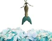 Cat Mermaid necklace, skeleton mermaid, cat jewelry, mermaid jewelry, mermaid necklace, vegan necklace, vegan jewelry - TEAL