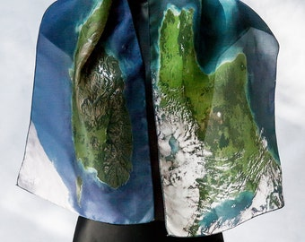 Scarf Map  New Zealand Custom Made Silk Digital Print Green Blue NOW AVAILABLE by the Artist