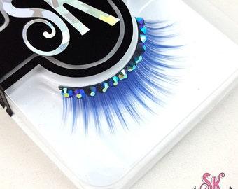 Blue Rhinestone False Eyelashes - SugarKitty Couture