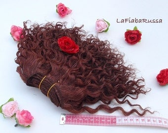 Wefted mohair goat curly doll hair chestnut for waldorf, Blythe natural Wool Doll Hair, Blythe Doll wig, tress, fabric dolls, combed locks
