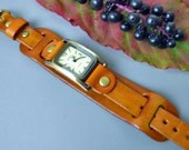 SALE - Saddle Brown Leather Wrist Watch - Double leather watch band - Women's Watch