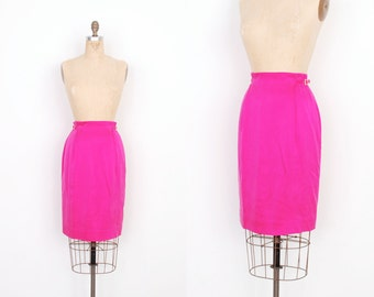 Vintage 1980s Skirt / 80s Silk Pencil Skirt / Hot Pink (extra Small XS)