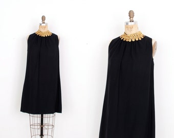 Vintage 1960s Dress / 60s Crepe Coin Embellished Mini Dress / Black (M L)