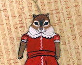 Chipmunk Paper Doll, Chipmunk Christmas Ornament, One of a Kind Paper Doll Animal, Paper Christmas Ornament, Holiday Tags, Wrapping Decor