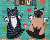 Valentine's Day Greeting Card,  Mixed Media Collage, One of a Kind  Kitty Cat Collage Card, Angel Cats