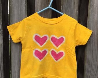 Kids Heart Shirt (2T), Girls Heart Shirt, Batik Heart Shirt, Batik Girls Shirt, Yellow Girls Shirt, Valentine's Day Shirt, Toddler Shirt
