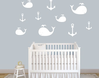 Whales and Anchors - Nursery and Kid's Room Bathroom Wall Decals