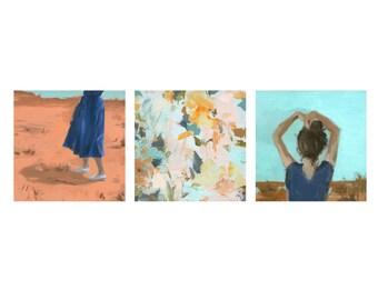 The Desert triptych .  horizontal giclee art print
