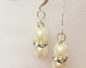 Ivory Pearl Earrings - Traditional Bridal Earrings - 6mm Rondelle Rhinestone Flower Girl Earrings