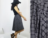 SALE - XL / BiBa wrap skirt / Black & white check skirt - office wear / Last in stock
