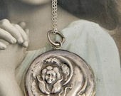 Antique Flower Nymph Locket Necklace, Sterling Silver locket, Large Round Repousse Locket, Fairy Nymph Locket,  Large Art Nouveau Locket