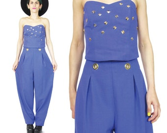 1980s Pants & Bustier Crop Top Outfit Two Piece Set Bright Purple High Waisted Trousers Studded Corset Top Cut Out Grommets Club Kid (S/M)
