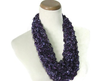 Purple Cowl, Hand Knit Cowl, Knit Scarf, Gift For Her, Circle Scarf, Knit Cowl, Summer Scarf, Fiber Art