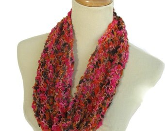 Pink Cowl, Hand Knit Cowl, Knit Cowl, Circle Scarf, Spring Scarf, Womens Scarf, Fiber Art, Mother's Day, Multicolor, Pink Orange Scarf