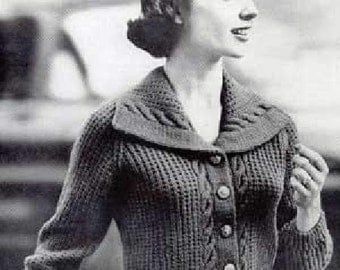 Knitting PATTERN Ladies Jacket/Cardigan/Sweater - Sizes 14,16,18 and 20 plus sizes - PDF download