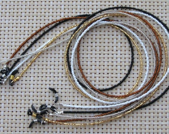 CHOOSE color: Black, Brown, Gold, Pearl, Clear/Silver ~ Beaded Eyeglass Chain Holder