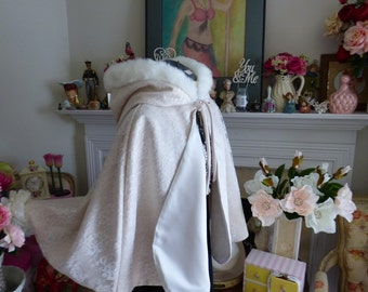 Lacey Princess Bridal Cape 27 inch Champagne / Ivory Satin with Ivory Overall-Lace & Fur trimmed Hood Wedding Cloak Handmade in USA