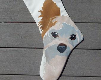 "Yorkie Christmas stocking 24"" (61cm) Yorkshire Terrier canine friend dog  Crabby Chris™ Original"
