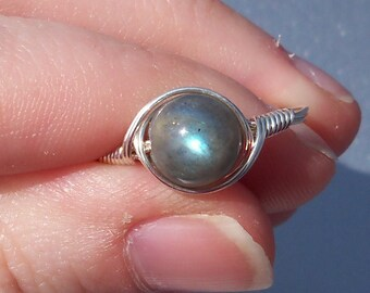 LG Labradorite Argentium Sterling Silver Wire Wrapped Stone Ring