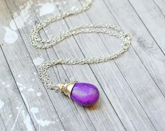 Dark Purple Faux Turquoise Necklace, Silver Wire Wrap Teardrop Dangle Pendant, Violet Purple Drop