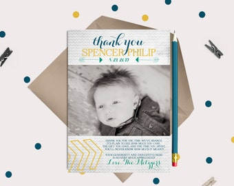 Baby Thank You Card - pre-printed message and photo!