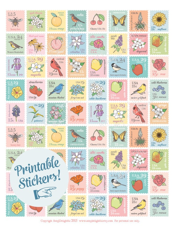 Blank Calendar Stamp : Printable postage stamp style stickers digital file instant