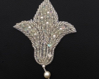 White beaded applique hanging pearl applique