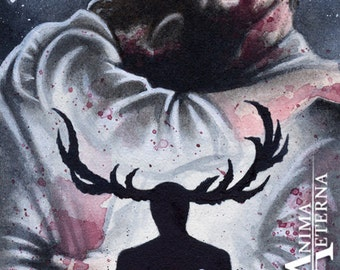 Hunters - Will Graham & Hannibal Lecter - Hannibal Traditional Art Watercolor Painting - ACEO Print - Hand Signed