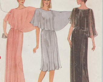 Vogue 7873 / Vintage Sewing Pattern / Dress Or Gown With Attached Capelet / Size 12 Bust 34