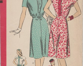 Hollywood 1587 / Vintage 40s Sewing Pattern / Dress And Jacket / Size 14 Bust 32