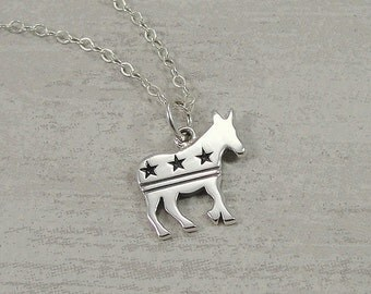 Democrat Donkey Necklace, Sterling Silver Democrat Donkey Charm on a Silver Cable Chain