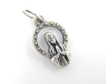Vintage French Virgin Mary and Baby Jesus Catholic Medal - Unique Religious Charm - Catholic Jewelry - W18
