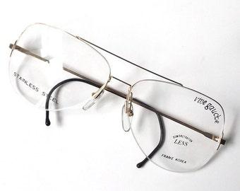 vintage 1970's rive gauche aviator eyeglasses thin gold metal wire frame half rimless 1/2 eye glasses mid century retro womens mens modern
