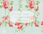 Petals and Vines Antique Wallpaper .PNG Elements Clipart Floral Vine Clip Art