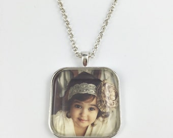 Custom Photo Necklace or Key Chain - Large Square Cushion Pendant - Your Personal Photo - 4 Finishes Available